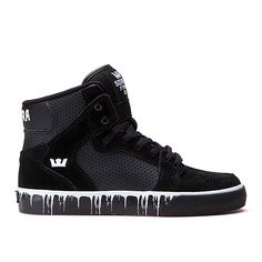 SUPRA Footwear™ | Official Store | KIDS VAIDER | BLACK/WHITE - PAINT DRIP