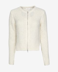 A.L.C. Laff Crop Zip Up: Keep cozy in a perfectly sized crop silhouette with a center zipper closure. Notched hemline. In ivory. Fabric: 78% alpaca/14% polyamide/8% wool Model Measurements: Height 5'10; Waist 25 ; Bust 32   Length from shoulder to hem: 20 for size small Made in ... #intermix #sweepstakes