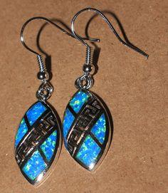 blue fire opal earrings Gemstone silver jewelry Greek Key drop/dangle G541W #DropDangle