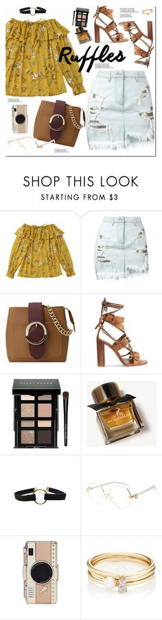 """Ruffled Tops"" by oshint ❤ liked on Polyvore featuring Versus, Etro, Bobbi Brown Cosmetics, Burberry, Kate Spade and Loren Stewart"