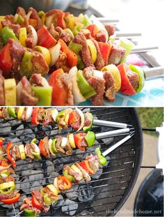 Grilled Shish Kabobs: Gather the meat (chicken or beef) and veggies that you like. Slice and dice to size, and place on skewers. Mix all three, equal parts, together: Lawry's Seasoned Salt + Weber's Chicago Steak Seasoning + Lawry's Lemon Pepper. Holding the skewers over a surface that doesn't matter, like your sink, rotate, sprinkle and coat them generously. Grill no longer than 15 minutes, rotating every 5. Serve them with the ultimate summer baked potato (loads of cheddar + sour cream).