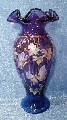 "Fenton 11"" LE Mulberry 'Butterfly Courtyard' Vase Signed Don Fenton Purple Mint"