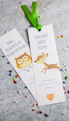 Woodland printable valentines. These valentine bookmarks are so easy, and perfect for an outdoorsy kid (or one who just really likes animals).