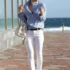 Zara White and Blue Striped Shirt
