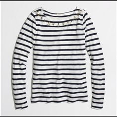 J crew jeweled stripe tee top Must have piece for your closet!, only worn once J. Crew Tops