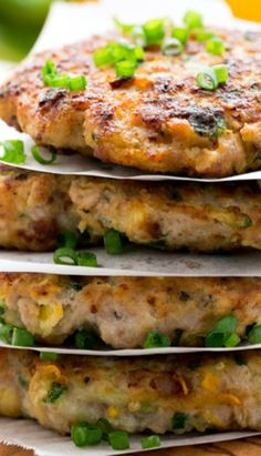Chicken Zucchini Fritters - zucchini, salt, ground turkey or chicken, black pepper, green onions or chives, egg, garlic cloves, ricotta cheese, olive oil (to saute)