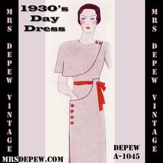 Vintage Sewing Pattern 1930's Dress With Capelet by Mrs. Depew Vintage - Available for Instant Download.