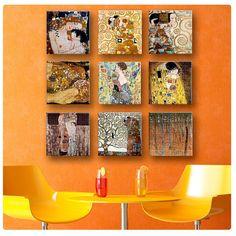 Canvas Set of 9 Print By Gustav Klimt  The kiss, Apple tree, mother wall art Art print Repro fine art gallery decor poster reproduction