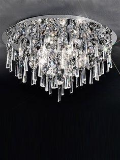 Jazzy CF5717 > Franklite Crystal Ceiling Light, Semi Flush Ceiling Lights, Flush Lighting, Luxury Lighting, Lighting Store, Exterior Lighting, Hexagon Shape, Light Fittings, Lighting Solutions