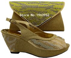 62.14$  Buy here - http://ali9ml.shopchina.info/go.php?t=32611513361 - Free Shipping African Shoes And Matching Bags With Rhinestones!1308-L53 gold Italian Ladies Shoes And Bags sets For Party! 62.14$ #magazineonlinebeautiful