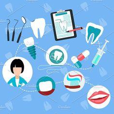 Dental Treatment Design Flat Concept. Human Icons. $5.00