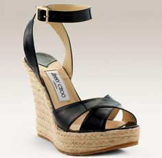 Jimmy Choo Phoenix Espadrille Black Wedges Sandals
