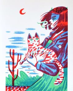 Happy International Cat Day! We still have prints of Girl With Cat by @jukeboxcomix available on our website. Riso + cats, what more could…
