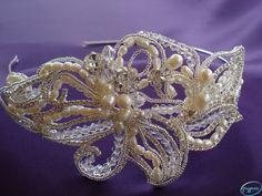Greypuss Wedding Jewellery - Pearl, Crystal, and Diamante Handmade Side Cluster Tiara Band. www.greypussweddingjewellery.com