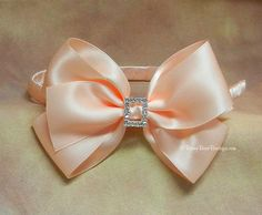 Satin Boutique Hair Bow w/ Rhinestone Center by RoseyBearBoutique