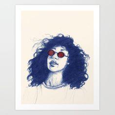 Blue Hair, Art Prints, Female, Art Impressions, Fine Art Prints, Art Print