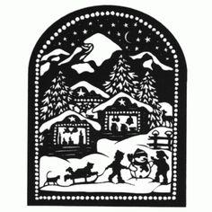 Matterhorn – Scherenschnitte Esther Gerber Christmas Stencils, Christmas Paper, Christmas Crafts, Xmas, Kirigami, Digital Stamps Christmas, Paper Cutting, Glass Block Crafts, Silhouette Pictures