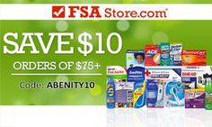 Use your Abenity Discount Program to save $10 off your purchase of $75 or more at FSAStore.com on all kinds of great FSA eligible products! https://discounts.abenity.com/perks/offer/1:45165