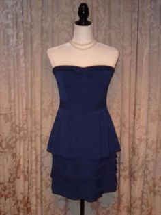 BCBG Cocktail Formal Peplum Strapless Tiered Dress in Ink Blue Sz 8 #bcbgmaxazria #Luxehunter73 #designerfashion