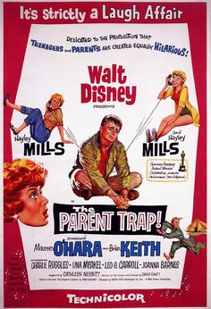 The Parent Trap is a 1961 Walt Disney film. It stars Hayley Mills Maureen O'Hara and Brian Keith in a story about teenage twins and their divorced parents. Disney Movie Posters, Old Movie Posters, Classic Movie Posters, Disney Films, Classic Movies, Disney Wiki, Music Posters, Old Movies, Vintage Movies