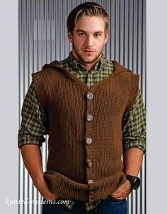 Men's hooded, sleeveless jacket - free crochet pattern