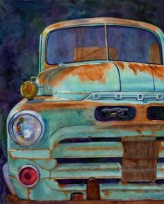 """Dad's Old Dodge - Watercolor on Canvas - 20"""" x 30"""""""