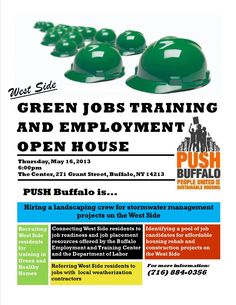 We have some potential opportunities in Storm water management, landscaping, and weatherization.    Call 716.884.0356 for more info