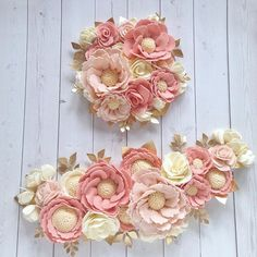 Pretty felt flowers in pink and cream