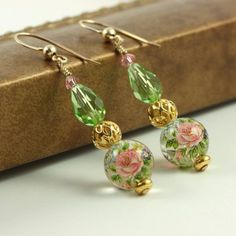 Pink Rose Earrings Peridot Green Japanese Tensha Gold White Floral Jewelry #handmade #jewlery #earrings