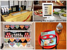 """super hero party ideas, make your own """"hero"""" sandwiches & dessert table"""