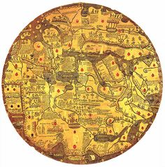 """Ancient World Maps: """"Mappa mundi Borgia"""" or """"Tavola di Velletri"""" is an engraved world map oriented with south at the top created in the first half of the century (ca. by an unknown author. Vintage Maps, Antique Maps, Vatican Library, Templer, Old Maps, Historical Maps, Art Plastique, Plans, Middle Ages"""