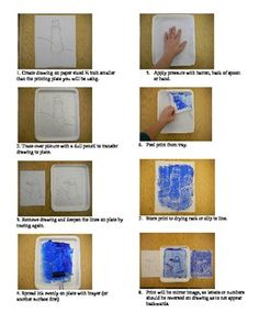 Snowmen at Night. Printmaking lesson Step by Step.