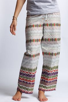 Punjammies - made by women in India rescued from forced prostitution seeking to rebuild their lives. Proceeds from the sales of PUNJAMMIES™ provide fair-trade wages, savings accounts, and holistic recovery care. Just bought this pair!!