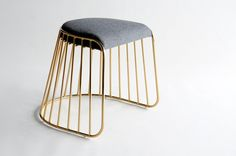 Bride's Veil Stools. The strikingly elegant metal base is available in smoked brass, polished chrome, or powder coat, while the seating is offered in COM upholstery. https://architizer.com/products/brides-veil-stools/