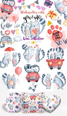 Watercolor Love cats collection This set of high quality stylish hand painted watercolor cats. Perfect graphic for wedding invitations, valentine`s day cards, Valentines Illustration, Cute Illustration, Watercolor Illustration, Watercolor Heart, Watercolor Print, Stickers, Valentines Day Clipart, Cat Clipart, Image Chat