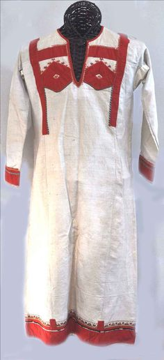 Chuvash dress, Linen, and cotton embroidery, circa 1900-15 (archives sold Singkiang)