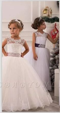 Lace Appliques Sleeveless Flower Girl Dresses Floor Length Party Gown with Sash Bow_Flower Girls Dresses_Wedding Party Dresses_Buy High Quality Dresses from Dress Factory Girls Dresses Uk, Cute Flower Girl Dresses, Tulle Flower Girl, Tulle Flowers, Flower Girls, Party Gowns, Wedding Party Dresses, Bridesmaid Dresses, Bridesmaids