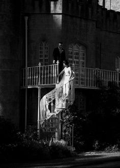 Bride descending outdoor spiral staircase - photo by The Portrait Rooms Photography Gallery, Wedding Photography, Wedding Venues, Wedding Photos, Irish Wedding, Spiral Staircase, Photo Credit, Wedding Details, Wedding Styles