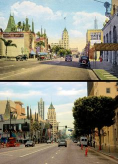Hollywood Boulevard. Top photo is a 1930s era postcard. Bottom photo was probably taken sometime in the mid 2000s.  (Bizarre Los Angeles)