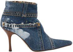 DOLCE & GABBANA Denim jean inspired heeled booties with leopard print lining! Denim Pumps, Denim Sandals, Denim Boots, Jeans And Boots, Low Heel Ankle Boots, Bootie Boots, Shoe Boots, Dolce And Gabbana Blue, Trendy Jeans
