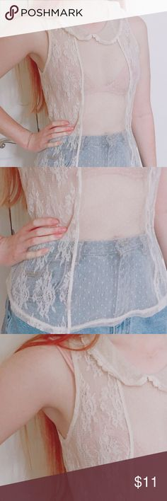 Delicate ornate dot lace Peter Pan top ✨ Adorable little cream colored Peter Pan top with a mix of ornate lace patterns & dot lace. Size L but fits a small & medium :) Vintage Tops Camisoles