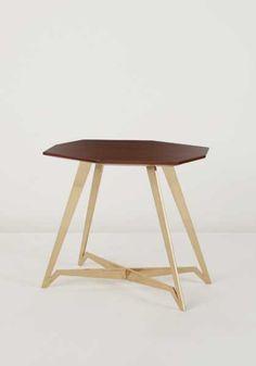 Gio Ponti; Walnut and Brass Side Table, c1952.