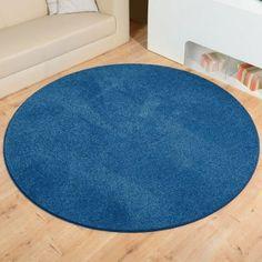 Teppich Uni Kräusel Velour Burbon blau rund