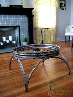 Bike wheel table!, @Nikki Wood @maia w. Need one!