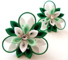 Kanzashi fabric flowers. Set of 2 ponytails . Emerald mint