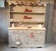"Large Shabby Chic Farmhouse Pine Welsh Dresser Farrow & Ball ""French Gray"" 