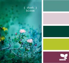 These are the colors I'm doing my bedroom in Hawaii in, I think - my bedspread is that purple color... Walls in the top green, accent wall in the yellow, on the yellow, I want a tree trunk in that dark green and I'll hang family pictures from the branches...