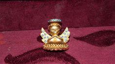 VINTAGE DODDS GOLDTONE ANGEL BROOCH PIN WITH BLUE RHINESTONES #DODDS #Vintage