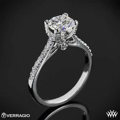 #Whiteflash #Verragio This Diamond Engagement Ring is from the Verragio Couture Collection. It features 0.30ctw of Round Brilliant Diamond Melee (F/G VS) that enhance a round diamond center of your choice. The width of this ring is 1.8mm. Select your diamond from our extensive online diamond inventory.