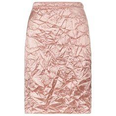 Nina Ricci Crinkle Satin Skirt (€935) ❤ liked on Polyvore featuring skirts, crinkle skirt, satin skirt, nina ricci, slit skirt and pink skirt
